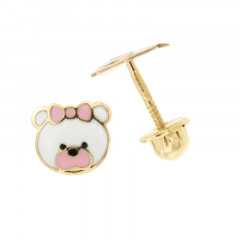 Boucles d'oreilles PANDA Rose Or 375°°° - VIS SECURITE