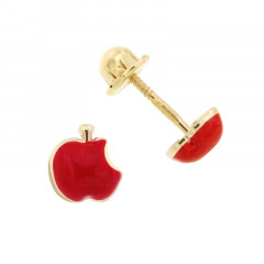 Boucles d'oreilles POMME EVE rouge Or 375°°° - VIS SECURITE