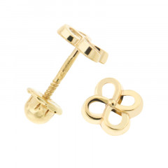 Boucles d'oreilles TREFLE ENTRELACS Or 375°°° - VIS SECURITE
