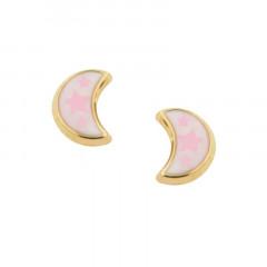 Boucles d'oreilles LUNE Blanche et rose - Or 9K
