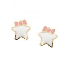 Boucles d'oreilles ETOILE noeud rose - Or 9K - Bijoux enfant