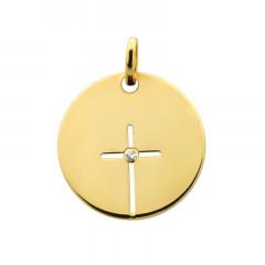 Médaille CROIX AJOUREE DIAMANT Or 375°°°