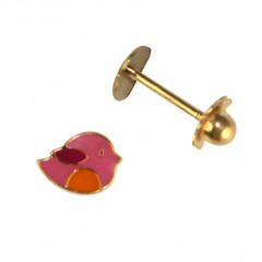 Boucles d'oreilles Or 375°°° OISEAU rose & orange - VIS