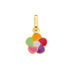 Pendentif FLEUR multicolore Or 375°°°