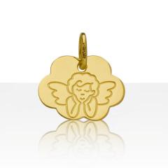 Médaille de bapteme NUAGE ANGE PENSEUR Or 375°°°