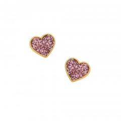Boucles d'oreilles Coeur paillette rose Or  375°°° - VIS
