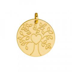 Médaille ARBRE DE VIE Coeur gravé Or 375°°°