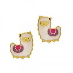 Boucle d oreille ENFANTS LAMA Or 9 carats et laque, Bijoux enfant Or