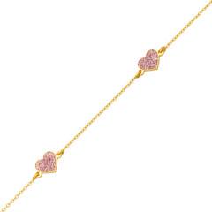 Bracelet COEUR PAILLETTE Or 375°°° - 16cm