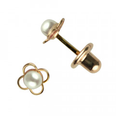 Boucles d'oreilles Or 375°°° PERLE SYNTHETIQUE FLEUR - VIS SECURITE