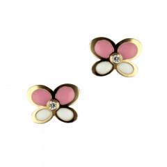 Boucles d'oreilles Or 375°°° PAPILLON rose & blanc Oxyde - VIS SECURITE