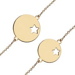 PACK Maman + Bébé Bracelet médaille étoile Or 375°°°