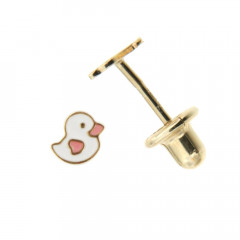 Boucles d'oreilles Or 375°°° MINI CANARD BLANC & ROSE - VIS SECURITE