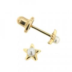 Boucles d'oreilles Or 375°°° ETOILE Perle  - VIS SECURITE