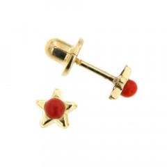 Boucles d'oreilles Or 375°°° ETOILE Perle rouge corail  - VIS SECURITE
