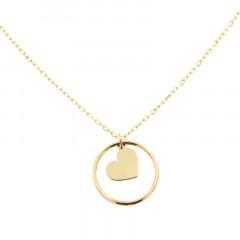 Collier Or 375°°° Anneau coeur L: 40cm