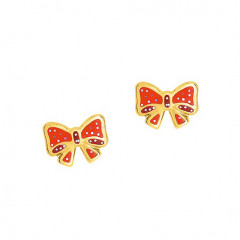 Boucles d'oreilles NOEUD CORAIL / ROSE PAILLETTE Or 375°°° - VIS