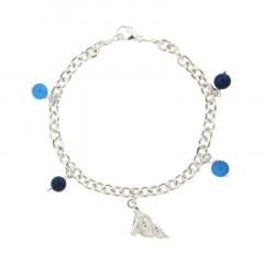 Bracelet Argent LA MER 5 Breloques Coquillage - 4 pierres D6
