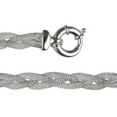 Bracelet Argent CH TRESSE PLATE DIAMANTEE