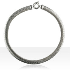 Collier Argent SERPENT PLAT 10mm 45CM