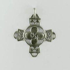 Croix Argent ROSACE FILIGRANE Carrée