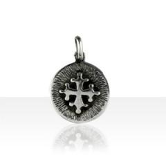 Médaille Argent FOND STRIE CROIX OCCIT DECOUPEE