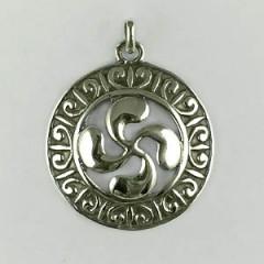 Médaille Argent ROSACE RONDE Croix BASQUE