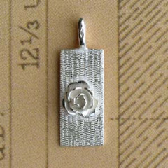 Plaque Argent RECTANG + ROSE