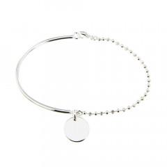 Bracelet Argent EPURE Semi-articulé FR20/Ble - Disque D12