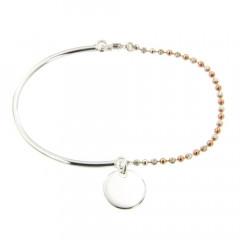 Bracelet Argent EPURE Semi-articulé FR20/Ble bic rose  - Disque D12