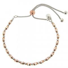 Bracelet Argent BOUDHA boules bicolore rose