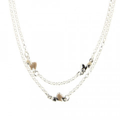 Collier Argent 3 PONEY EMAIL/Double RANG