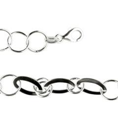 **Bracelet Argent OVALE PLAT/FIL ROND