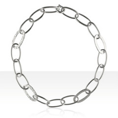 Collier Argent FIL ROND/4 OVALES MARTELES