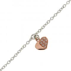 Bracelet de cheville COEUR OZ Argent rose 22+3cm