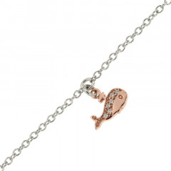 Bracelet de cheville BALEINE Argent OZ rose 22+3cm