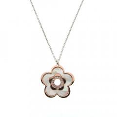 **Collier Argent NACRE Fleur - Bicolore Rose/RH L: 40cm - motif: 22x22mm