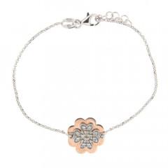 **Bracelet Argent PLAKA TREFLE Bicolore Rose