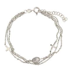 ** Bracelet Argent 3 rangs-2 Croix/1 Miraculeuse  L: 16+2,5cm