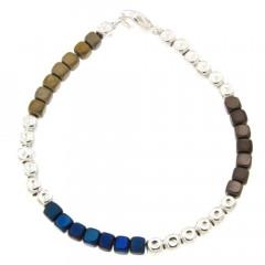 Bracelet Argent MASSAÏ Hématite Marine/Gold - L: 19cm - l:4mm