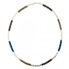 Collier Argent MASSAÏ Hématite Marine/Gold - L: 45cm - l:4mm