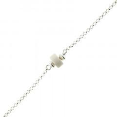 Bracelet Argent MASSAÏ/2  1 Disk Blanc 16+2.5cm