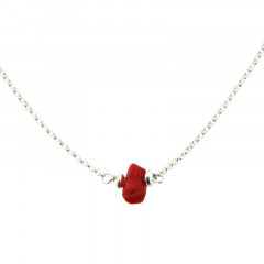 Collier Argent MASSAÏ/2  1 Chips Rouge 40+2.5cm
