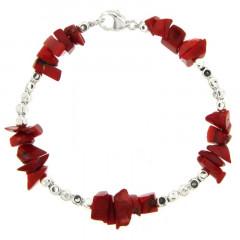 Bracelet Argent MASSAÏ/2  CUBI Chips rouge 19cm