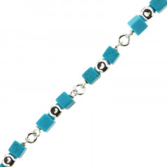 Bracelet Argent MASSAÏ/2  CUBE/CUBI Aulite Turquoise 19cm