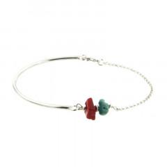 Bracelet Argent MASSAI/2 Semi-articulé FR20/Jas - Chips Turquoise & rouge