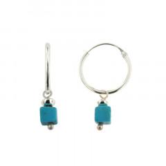 Créoles Argent MASSAI/2 -  MINI 1 cube turquoise