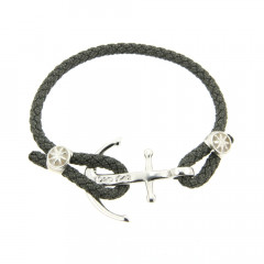 Bracelet cordon ancre DENIM gris, CAP COZ, bijou français