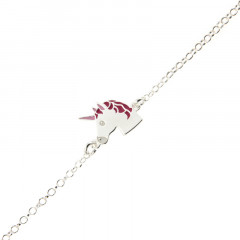 Bracelet licorne Argent laqué rose - Bijou Licorne enfant Ado
