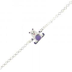 Bracelet ours argent laqué violet